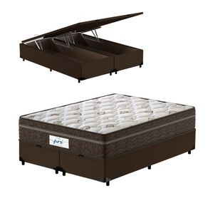 Cama-Box-Bau-Super-King-Marrom---Colchao-de-Molas-Ensacadas---Probel---Pro-Sleep-Max---193x203x72cm