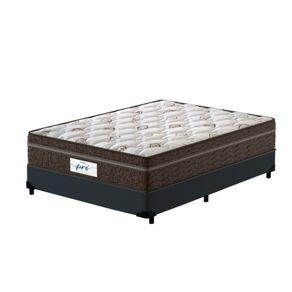 Cama-Box-Casal-Cinza---Colchao-de-Molas-Ensacadas---Probel---Pro-Sleep-Max---138x188x65cm