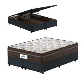 Cama-Box-Bau-Queen-Cinza---Colchao-de-Molas-Ensacadas---Probel---Pro-Sleep-Max---158x198x72cm